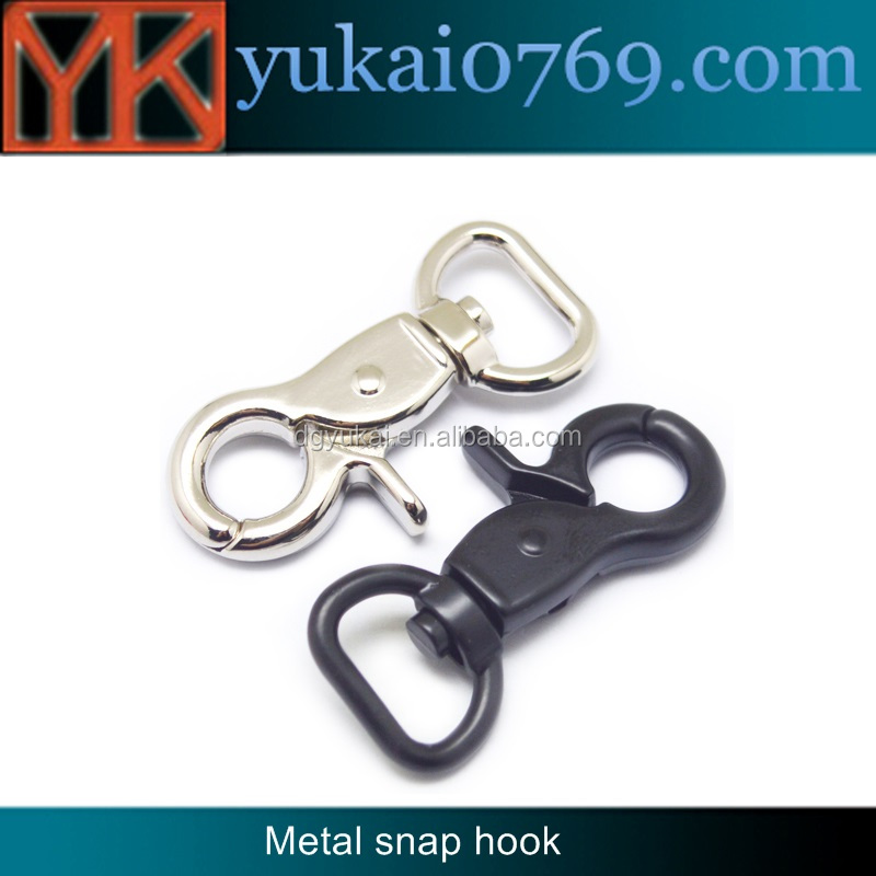 Yukai balck key ring snap hook metal spring trigger swivel snap hook