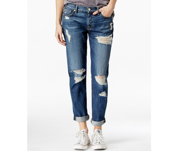 Women Denim Jean Pant Ripped Boyfriend Jeans Straight Leg Can Be ...
