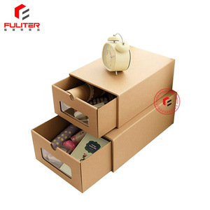 Pvc window clear shoe box packaging kraft cardboard storage boxes