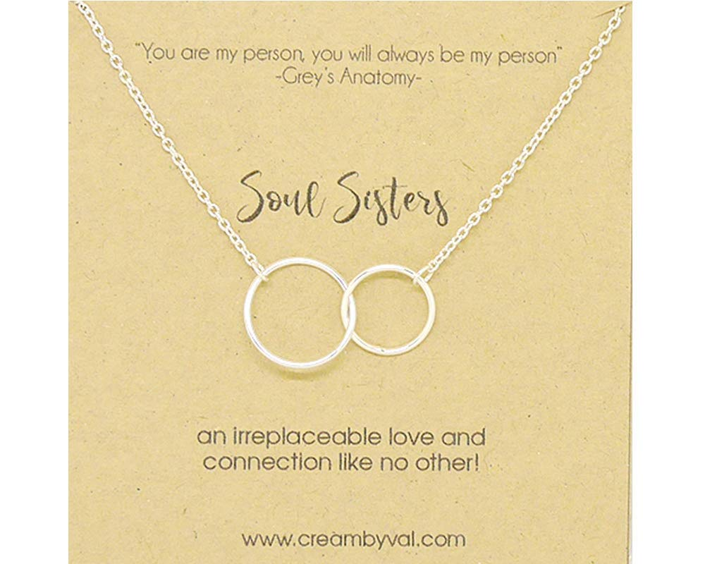 f9180fa21 Get Quotations · Soul Sisters Interlocking Circle Sterling Silver Necklace  - 17'' - 18'' Length