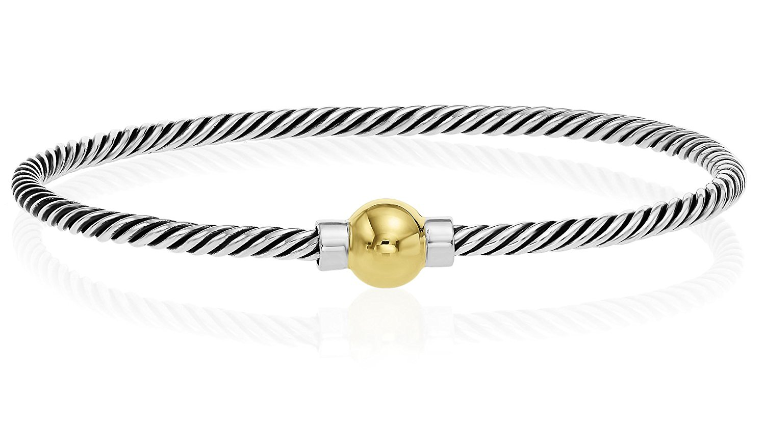 Unique Royal Jewelry 925 Sterling Silver, 14k solid Gold Ball Screw Twisted Bangle Bracelet with Black Rhodiumy
