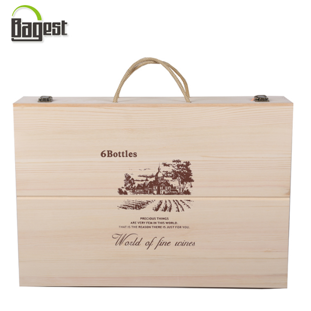 Top Quality Pine Wooden Wine Case For 6 Bottles