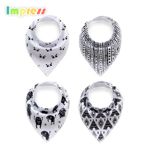 Black and white wholesale 100% cotton baby bandana bibs baby drool bibs