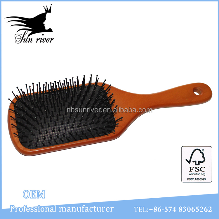 Massage Cushion personalized hair brush wooden hair brush with pins