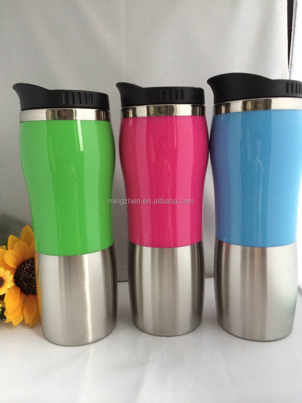 stainless steel 16 oz tumbler mug with flip lid 14oz insulated travel mug office desk coffee cup