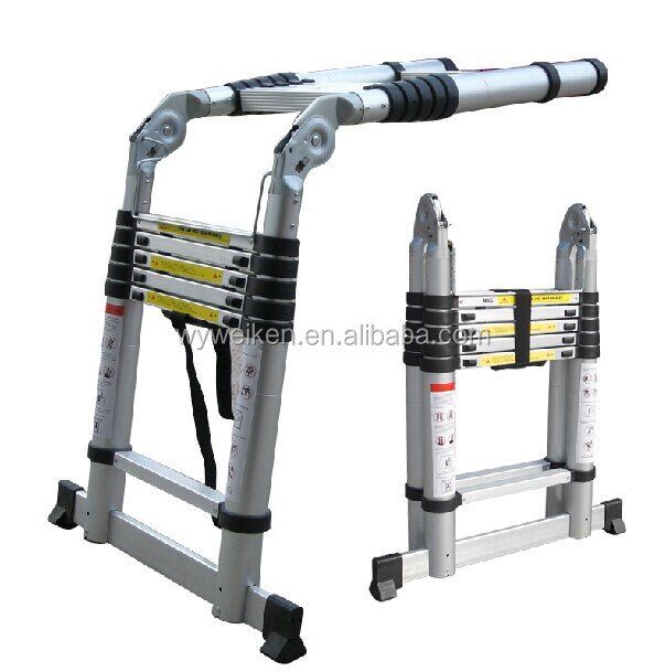2.6m EN 131 aluminum super telescoping telescop ladder, 9 steps collapsible step ladders with carry bag, made in China