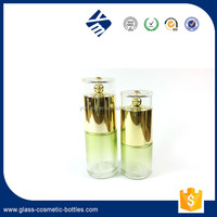 Best Selling Product Cosmetic Glass Blue / Red / Silver / Gold Colorful Bottle,Serum Glass Pump Bottle with Plated Gold Caps