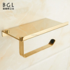 Stainless steel 304 cheap sliver chrom polish gold plated toilet roll paper holder with mobile phone shelf for bathroom