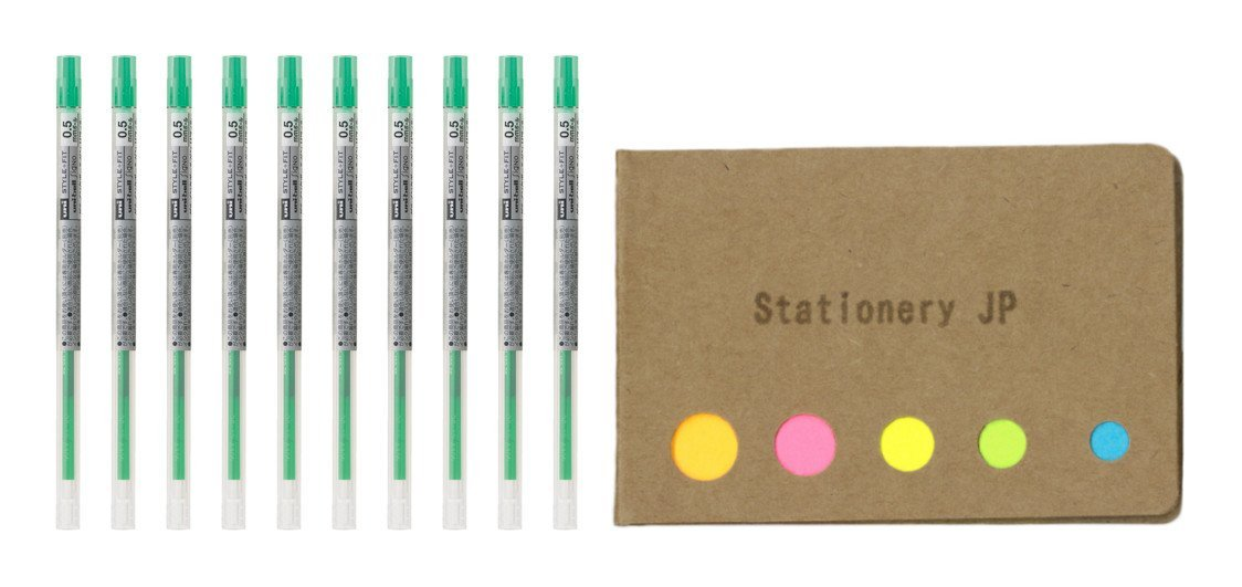 Uni-ball Signo Gel Ink Refills for Uni Style Fit Gel Multi Pen 0.5mm Green Ink, 10-pack, Sticky Notes Value Set