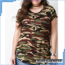 Custom Cotton Camo Skin Tight Women's Round Neck Short Sleeve T Shirt