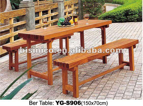 Jardin Table De Bière En Bois Avec Banc En Bois Loisirs Chaise  Longue/extérieur En Bois Furniture-b490470 - Buy Longue Table En Bois Avec  ...