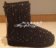 Free shipping Children rhinestone pearls snow boots handmade children princess style fashion Sweet snow boots Children