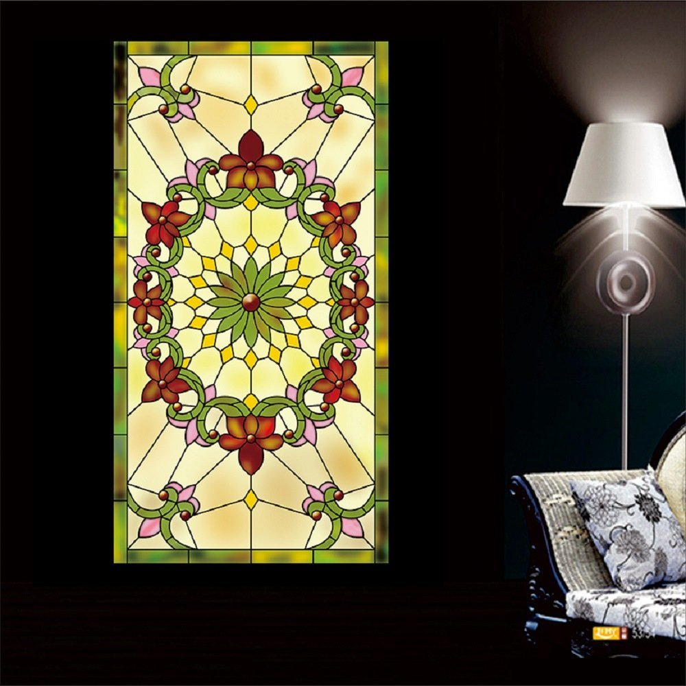 """OstepDecor Custom Translucent Non-Adhesive Frosted Stained Glass Window Films 24"""" W x 36"""" H (One Panel)"""