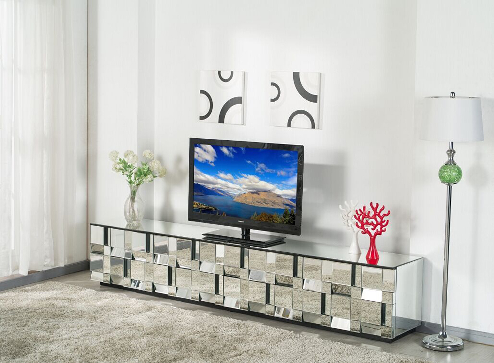 Mirrored tv cabinet nice houzz Meuble tv miroir