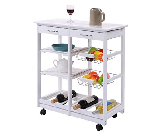 Kitchen Carts and Islands on Wheels Bakers Rack Wine Storage Workstation Trolley Extra Cabinets and Drawer Space White