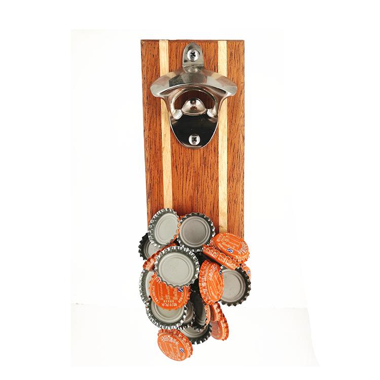 אמזון CustomizedWooden עץ בר יצוק ברזל בקבוק בירה פותחן קיר רכוב מגנט מגנטי מותאם אישית לוגו אישי מתנת נייר קופסא
