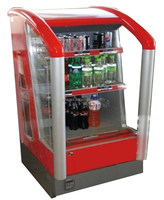APEX supermarket or restaurant red commercial beverage display cooler