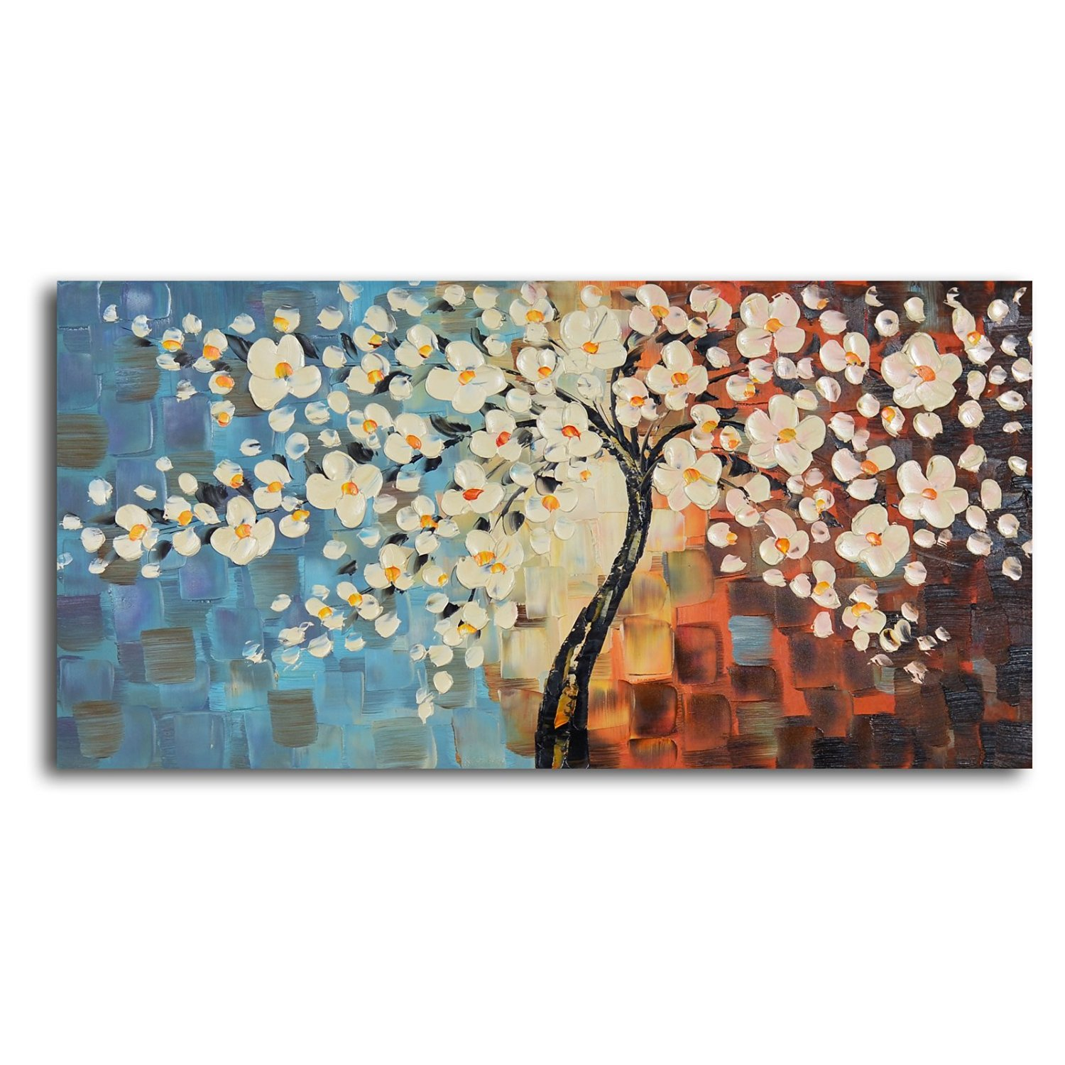 TJie Art Hand Painted Mordern Oil Paintings,Textured Cherry Blossom Oil Painted Wall Art,Contemporary painting in abstract nature theme, Handcrafted using oil paints on canvas, Visible brushstrokes enhance artistic appeal,stretched over frame