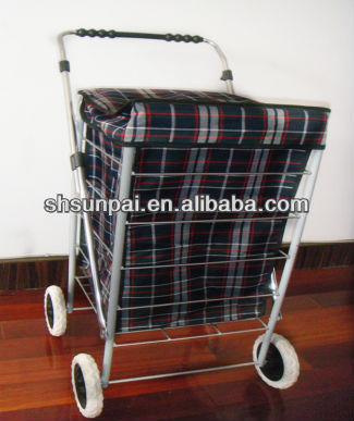 colorful personal printed folding 4 wheels shopping trolley with bag #005