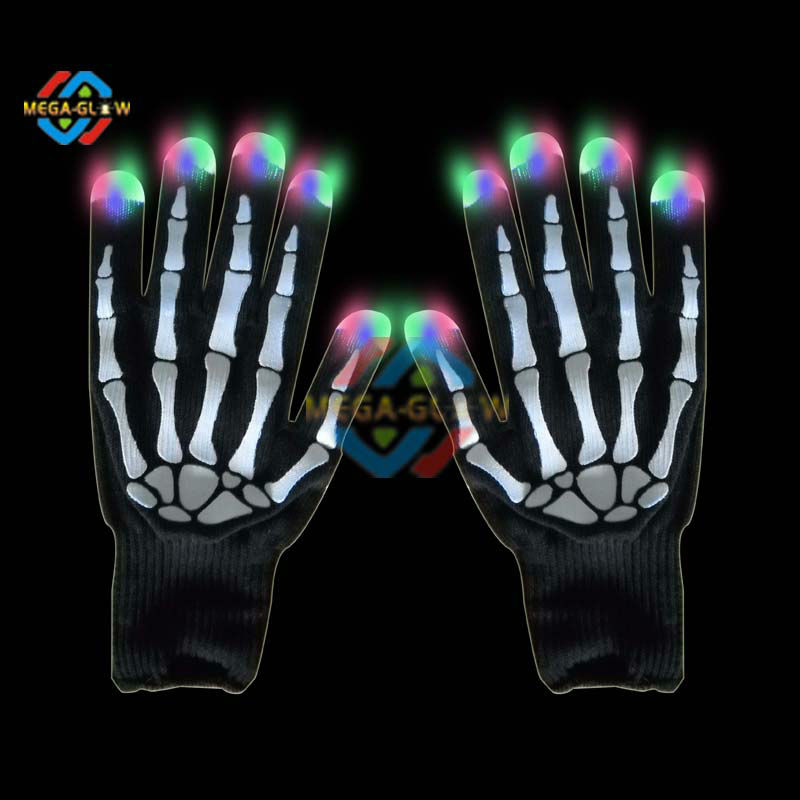 Promotional Led Halloween Glove,Halloween Party Light Up Skeleton ...