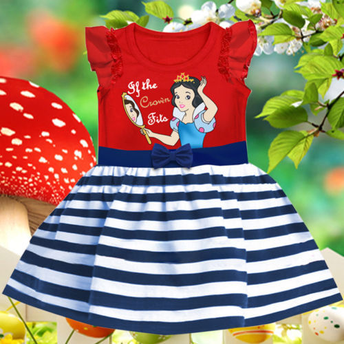 2016 Summer Kids Girl Dress stripe Princess Dresses Cartoon The Snow White Costume Children toddler Clothes