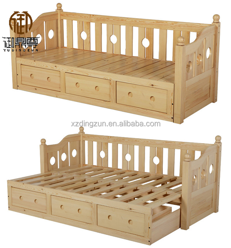 Solid Wood Folding Sofa Bed For Living Room Furniture Set With Mattress Frame