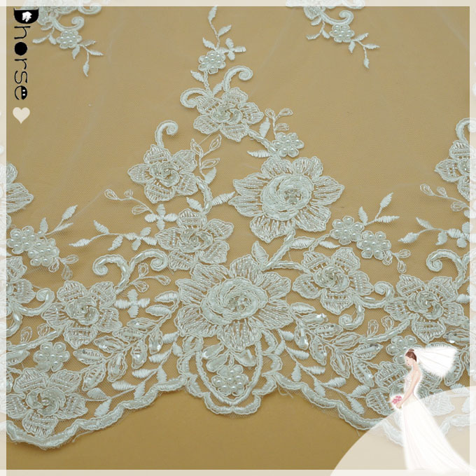 Hot sell Dhorse vintage flower pattern embroidery white mesh with embroidery beaded lace fabric