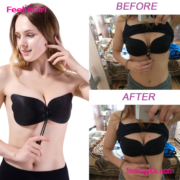 Free Sample Self Adhesive Strapless Underwear Women Invisible Backless Push Up Magic Bra