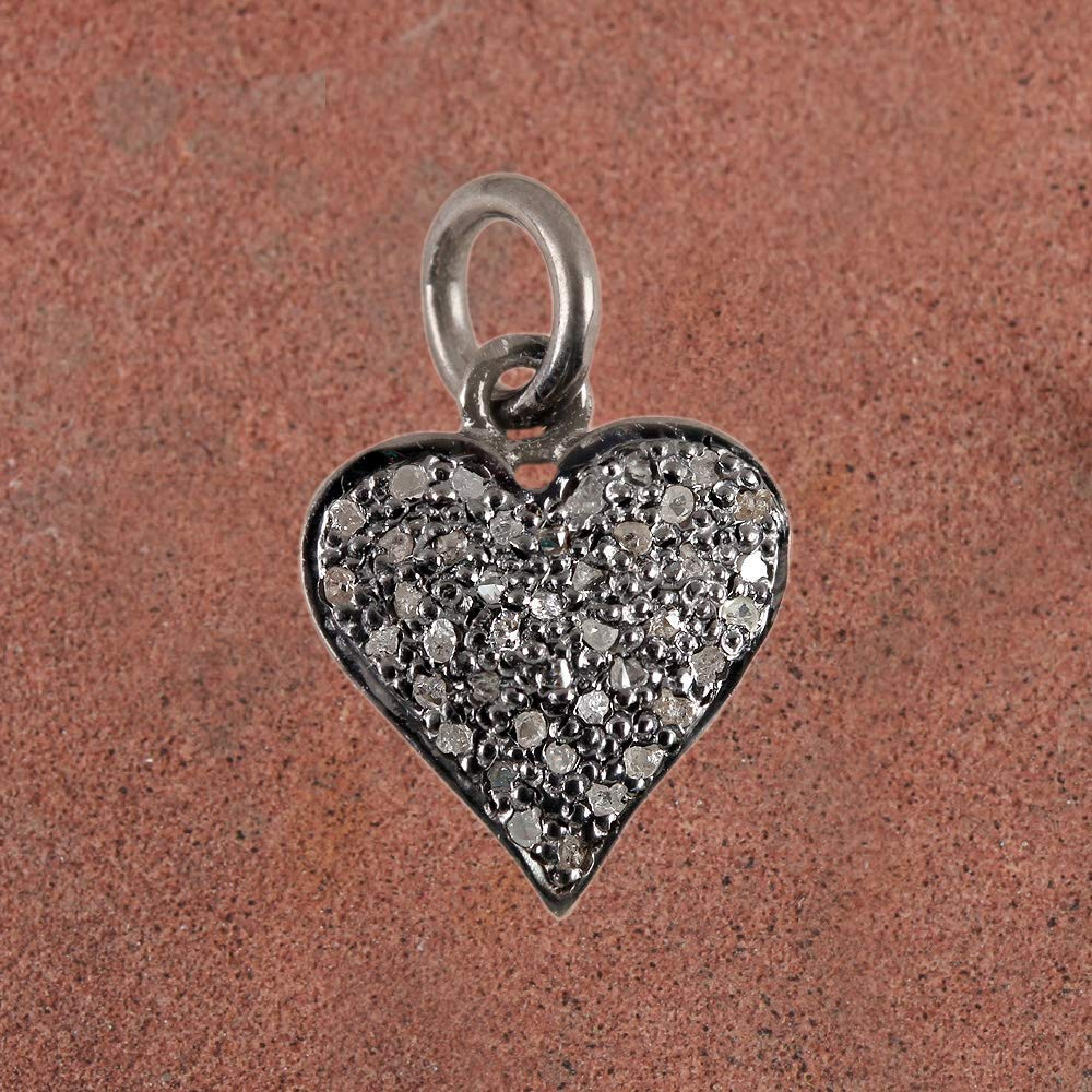 Natural 0.13 Ct. Diamond Pave Heart Charm Pendant Solid 925 Sterling Silver Vintage Style Fine Jewelry