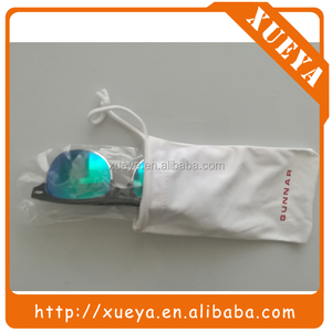 customized white color microfiber sunglasses pouch with rope