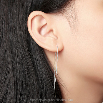 fd945456982c Minimalista ear pendientes hilo 925-Sterling-plata cadena larga para las mujeres  plata delicada