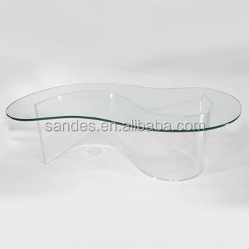 Costom Pure Unique Square Kidney Shape Lucite Coffee Table Fish Leaf Shaped Color Acrylic Product