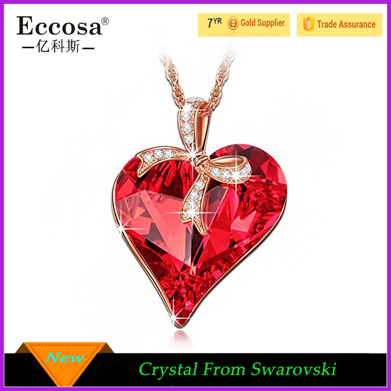 Sweetheart Heart Pendant Necklace Made Ruby Crystals From Swarovski Necklace