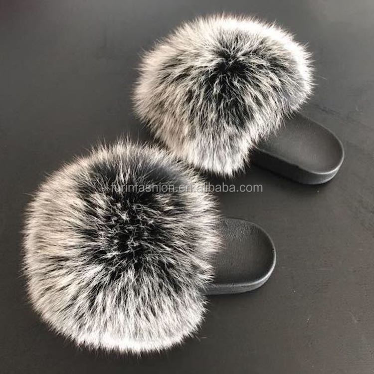 43011010953b 2017 2018 Wholesale New Design Women Luxury Slides With Real Silver Fox Fur  for Traveling Summer Fashion Lady
