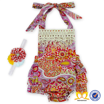 ae924c6a50ff African Flower Printing Bubble Romper And Headband Set Baby One Piece  Ruffle Bodysuit Baby Girl Boutique