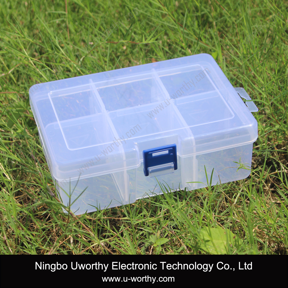6 Compartments Transparent Plastic Adjustable Storage Box with Dividers