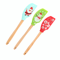 custom wholesale christmas best extra large kitchen heat resistant cake cream silicone spatula with wooden handle design