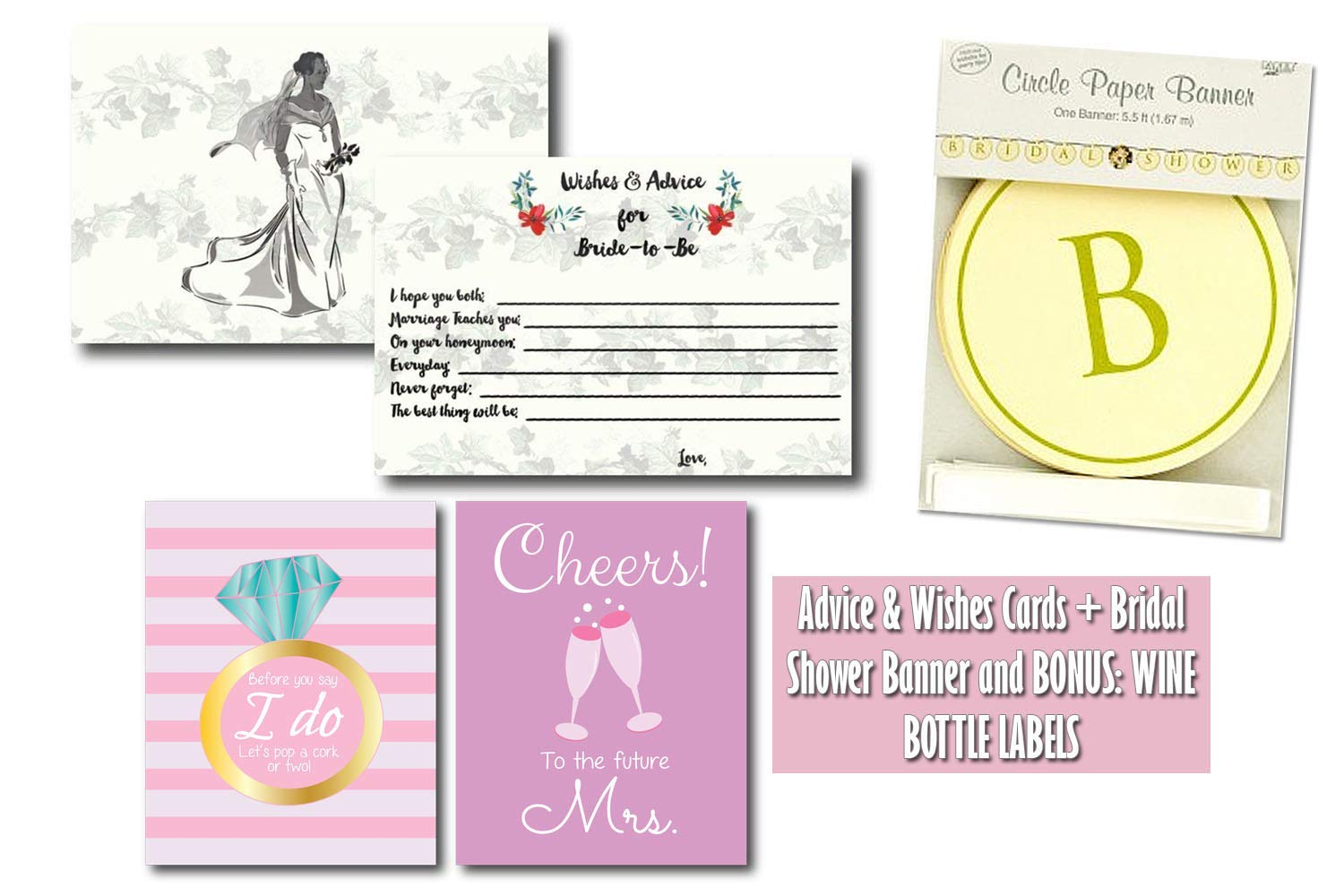 get quotations 50 bride to be advice and wishes cards with bridal shower paper banner bonus bridal