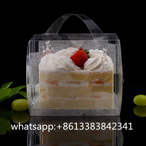eco friendly take out transparent top handle flat folding cake gift box for wedding