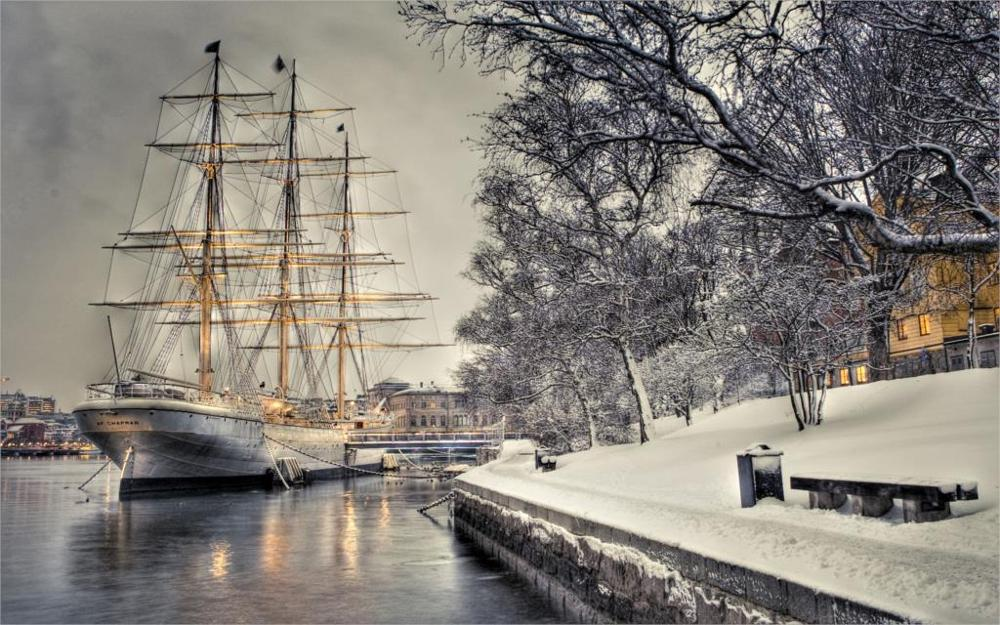 sailboat dock quay snow ship boat winter Home Decoration Canvas Poster