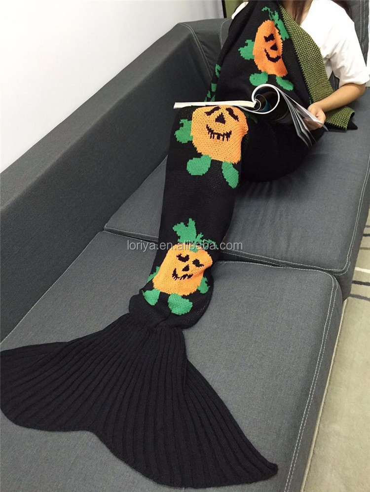 Funny Pattern Mermaid Tail Blanket Crocheted Knitting Wool For Adult Kid Sofa Bed Sleeping Bag