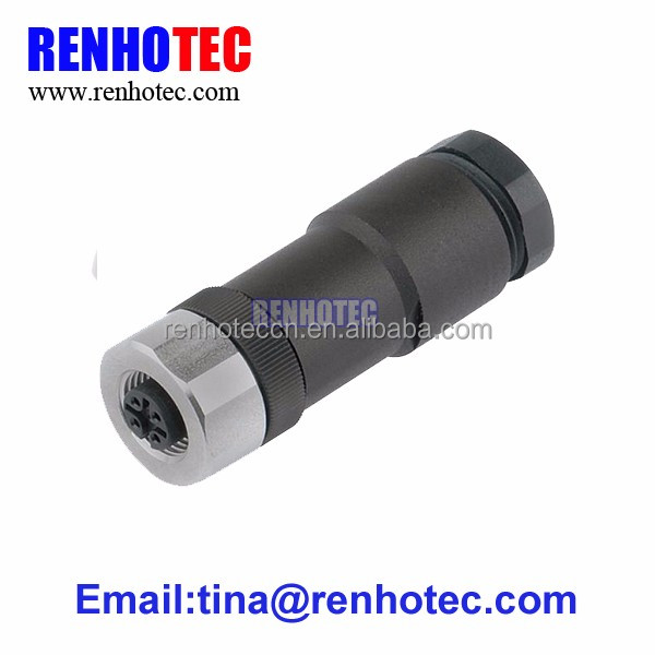 Metal shield threaded locking 4 pin m12 female connector