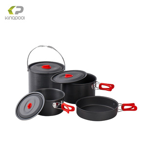 Outdoor camping hard anodized aluminium cookware sets
