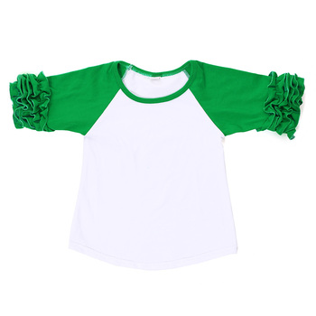 Boutique four Leaf Clover ruffle raglans St. Patrick's Day  kid baby clothing girl shirts