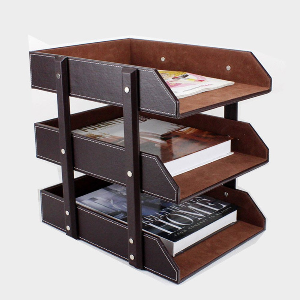 3 Layer Detachable Wood Leather Desk Filing Tray Box Office Organizer Case  Document Container (