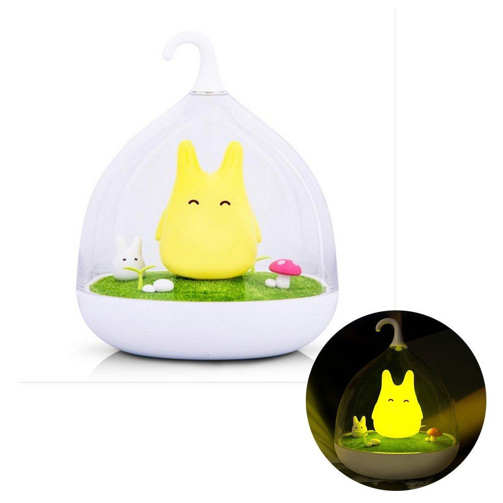Geekercity Cute Baby Night Lights Hand-held Design Touch Sensor Vibration Cage Lamp Night Light Rechargeable Totoro Touch Sensor USB Light for Baby Child Bedroom Sleep Lighting Art Decor