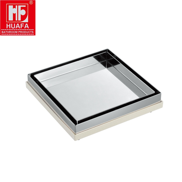 6 Inches 304 Stainless Steel and ABS Plastic Mirror Finish Square Tile Insert Floor <strong>Drain</strong>