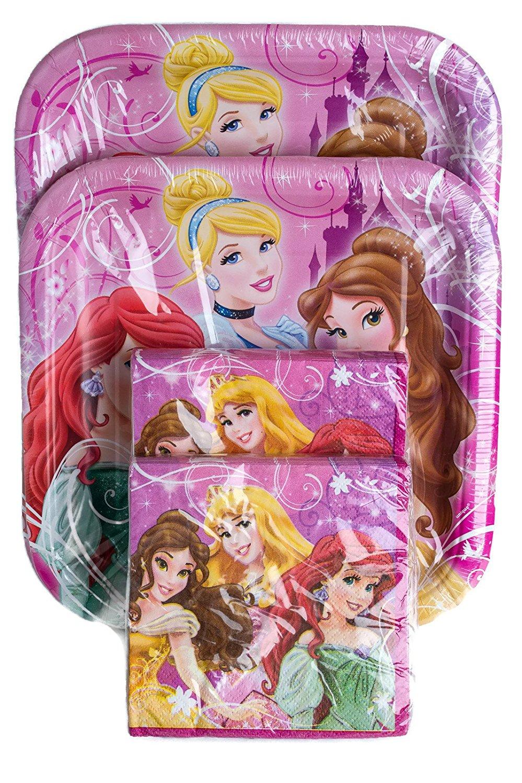 Get Quotations · Disney Princess Party Plates \u0026 Napkins Bundle for 16 Guests: 32 napkins, plates Cheap Plates, find deals on