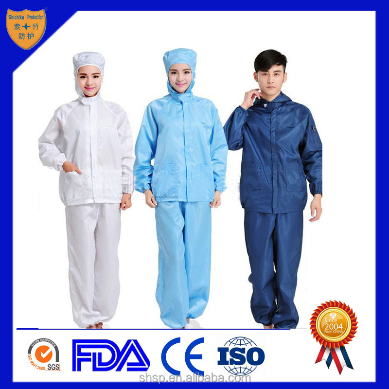 OEM Service ESD Cleanroom worker suit for electronic and food factory