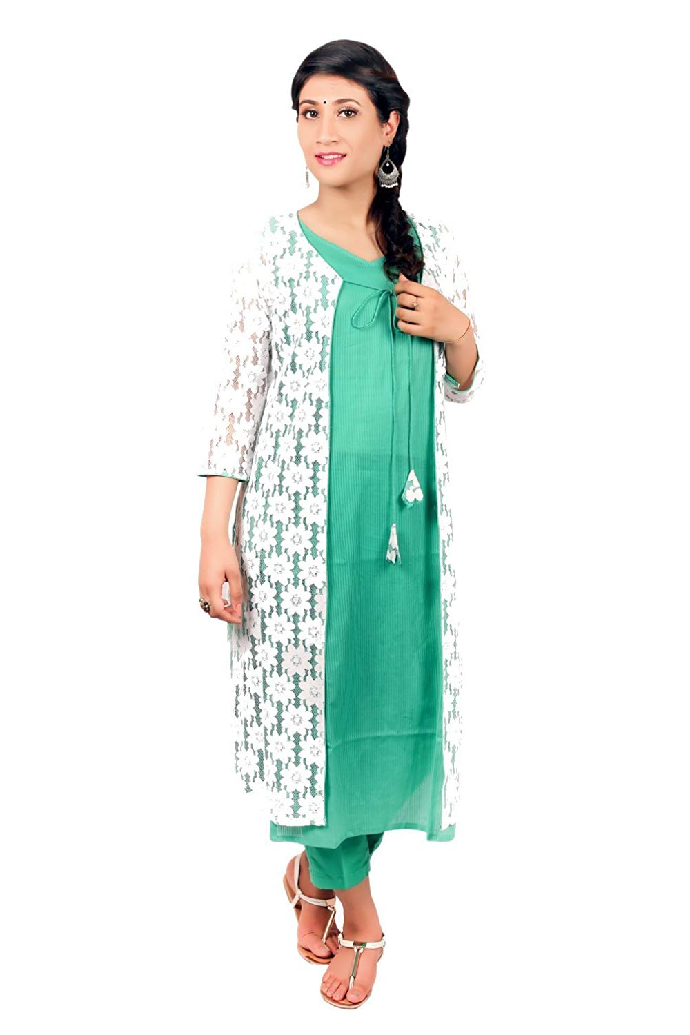 17669b1da3 Get Quotations · meen manifestation Women's Cotton Long Straight Green  Kurti with Net Jacket